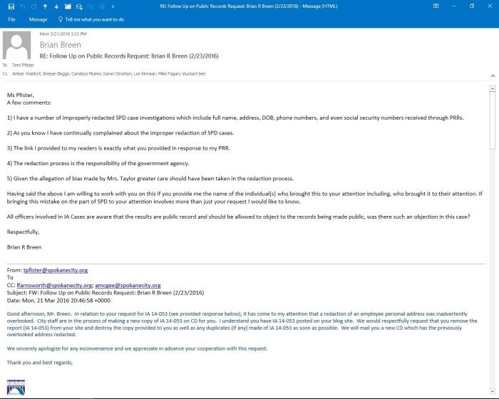 Redact email Pfister