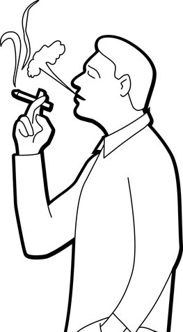 Outline of Man Smoking a Cigarette