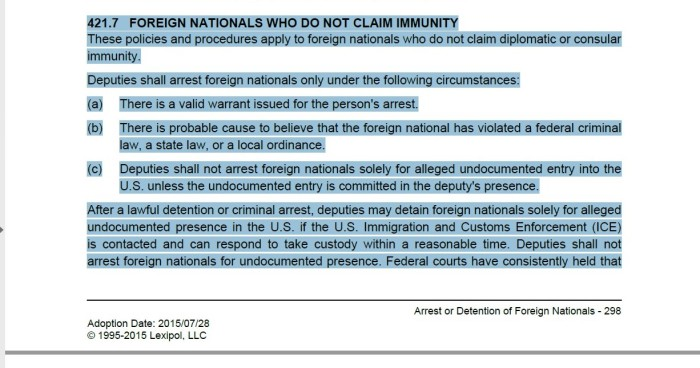 No claim of immunity 1