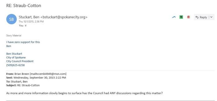 Zero Support Stuckart Investigation Email Oct 1, 2015