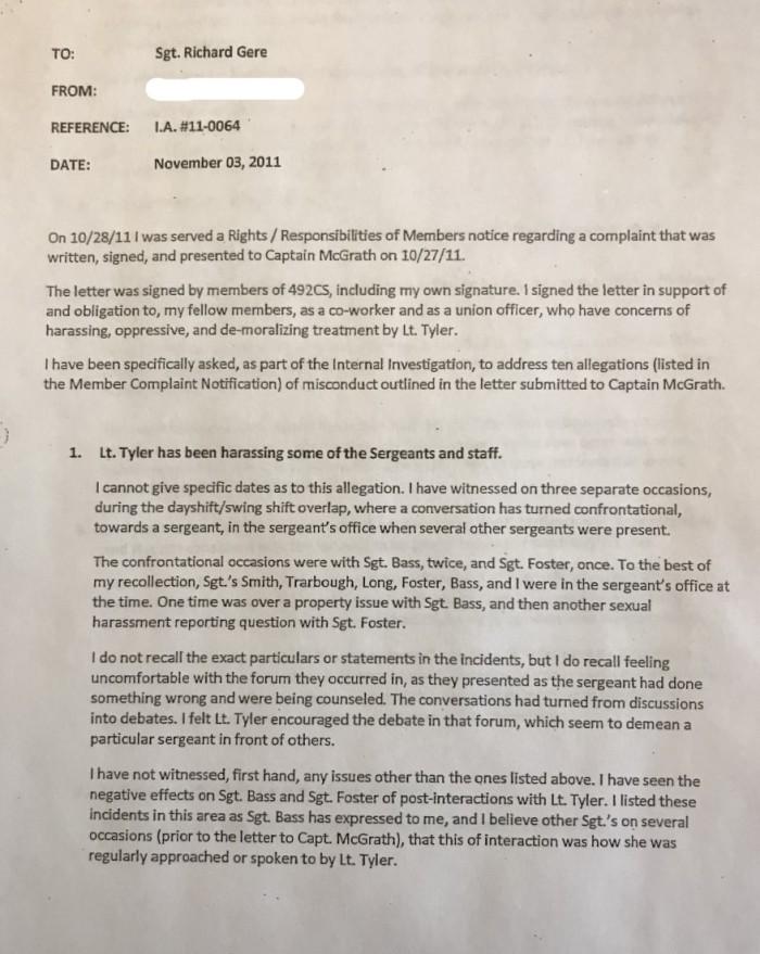 Sgt Darren Lehman Complaint 1