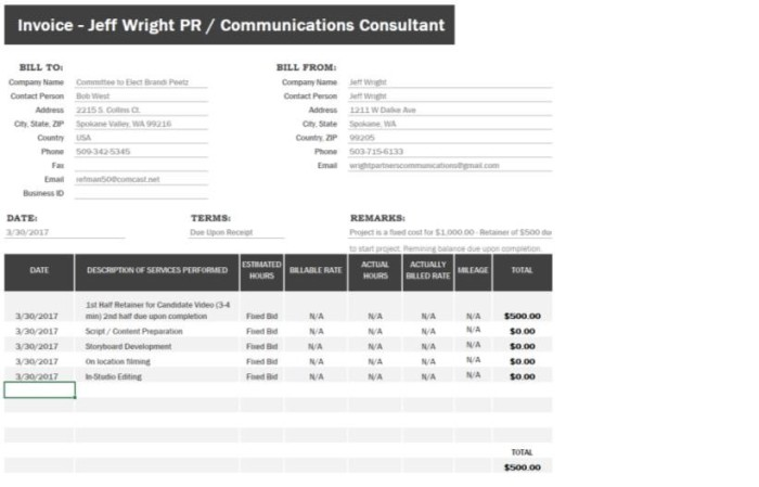 Jeff Wright Invoice