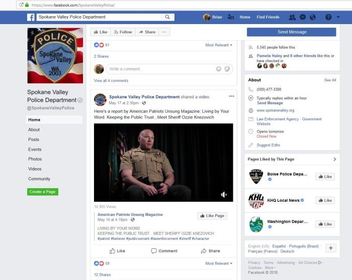 Spokane Valley PD Website