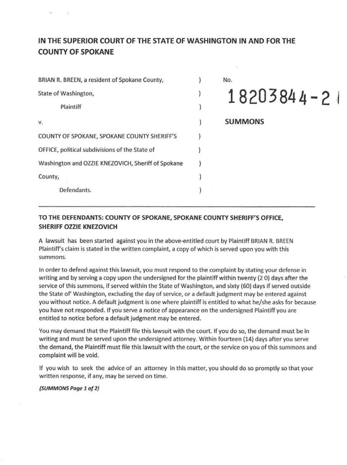 A. Breen v County of Spokane, SCSO, Knezovich Summons 1 - Copy