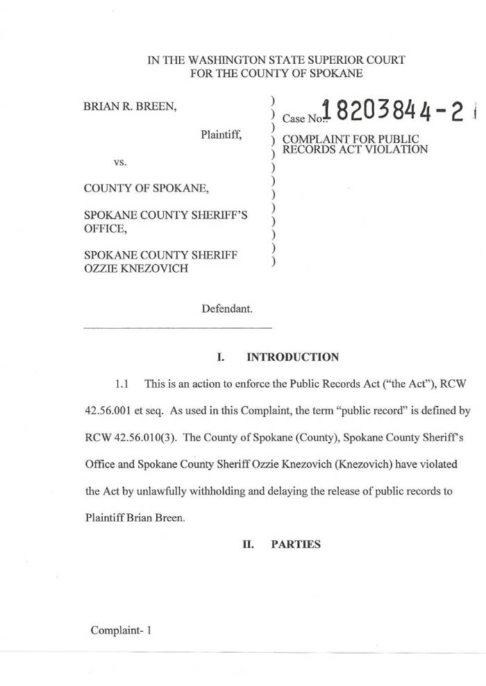 C. Breen v County of Spokane, SCSO, Knezovich Summons (1)