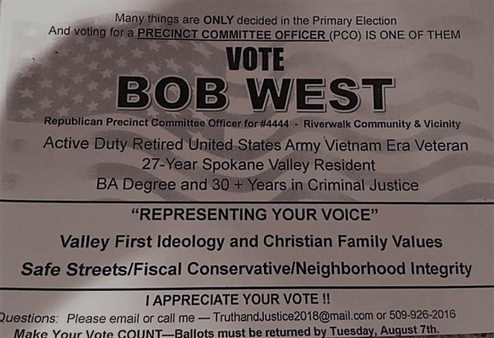 Vote Bob West PCO