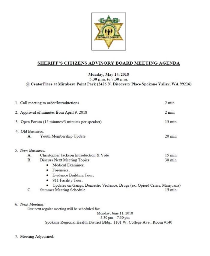 CAB Agenda May 14, 2018