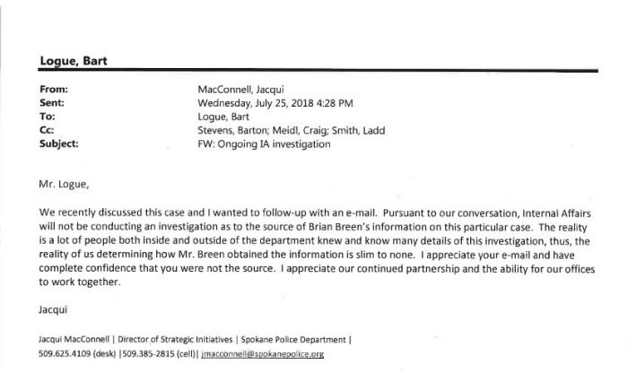 MacConnell no investigation