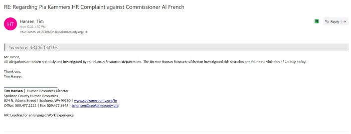 Hansen email French cleared